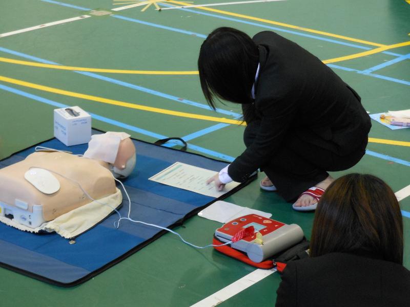 AEDの操作練習